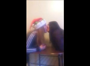 Amateur Lesbian Christmas kissing