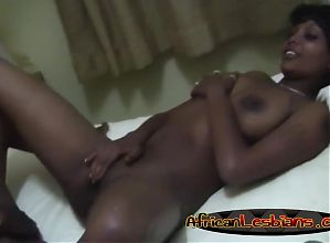 Two horny African babes enjoy a remarkable lesbian action