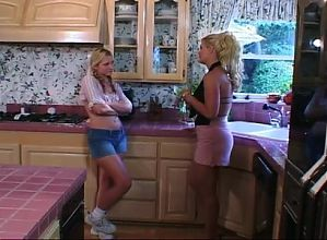 Hot Blondes Fuck On The Kitchen Counter