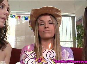 20yo lesbo celebrates with strapon orgy