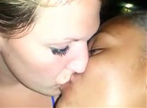 Interracial Girls Kissing In the Nightclub