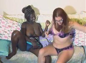 Interracial girls explore lesbian side, masturbate together